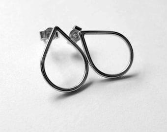 Rain Drop, simple sliver stud, sterling silver post earrrings