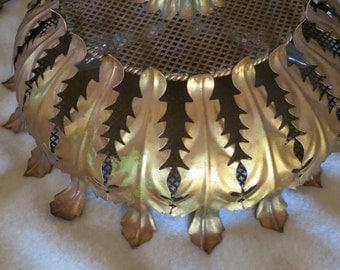 Vintage Italian Gold Leaf Hollywood Regency Ceiling Light Fixture
