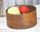 "Antique Wood Cheese Box Round No Lid Original Patina 9.5"" Diameter by 4.75"" D Storage Fixer Upper Prairie Farm Chic Home Decor"