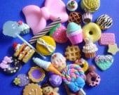 Sale--kawaii pink bow decoden cabochon sweets mix  # 76  more than 30 pcs---USA seller