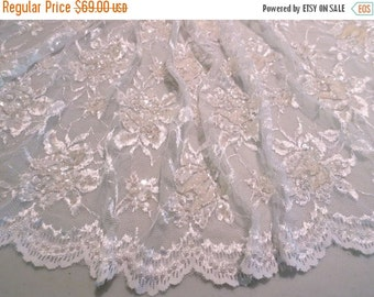 ON SALE White Floral Chantilly Style Lace Fabric with Beads and Sequins--One Yard
