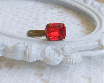 Red Ring, Light Siam Ring, Stackable Rings, Vintage Crystal Rhinestone Ring, Red Rhinestone Cocktail Ring, Antique Brass Adjustable Ring