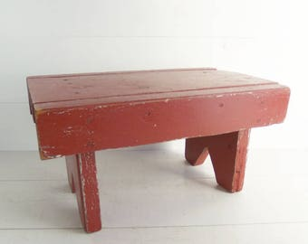 Vintage Primitive Chunky Wooden Bench, Old Red Painted Cricket Stool, Farmhouse Decor, Footstool