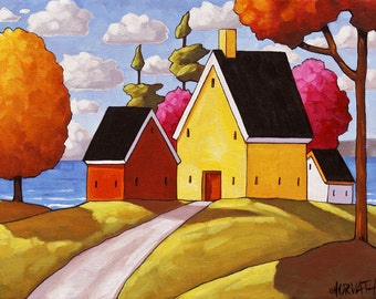 "Giclee Folk Art Print Landscape by Cathy Horvath 5""x7"" Sunny Colorful Summer Ocean Cottages Trees Seascape Archival Artwork Reproduction"