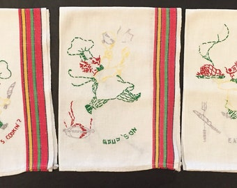 3 Vintage Embroidered Chef Kitchen Towels