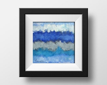 Blue Stripe Print- Gray Print - Horizontal Stripe Print- Watercolor Painting - Ready Frame