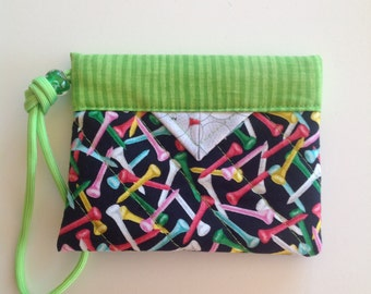 "Golfer's Tee Bag - Quilted Fabric Mini Snap Bag Pouch 5"" x 4"""