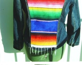 Serape accented womans blue denim jacket