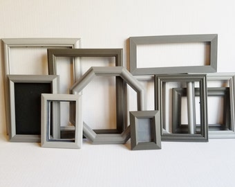 Gallery Frames in 3 Shades of Gray with Glass and Backing; Set of 11 Frames;  Wall Decor; Wedding Decor; Instant Frame Collection