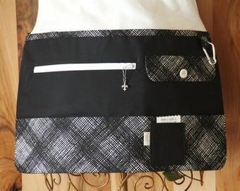 Vendor Apron, Utility Apron, Teacher Apron - Black with Black and White Weave - Ready to Ship