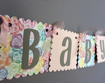 Shabby Pink Baby Shower Banner - Rustic Rose Banner - Baby Girl Baby Shower - Girl Baby Shower Decorations