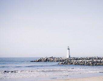 Lighthouse Print, Beachwalk, Photos, Art, Coastal, Home Decor, Sand and Sea Print, Beach Rocks, Art, Blue, Cream, Fine Art Print