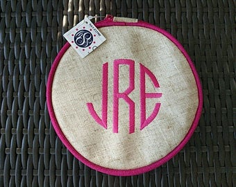 Personalized Monogrammed Hot Pink Ruffled Linen Jewelry Case Bag Child or Adult--Free Monogramming--Fast Turnaround