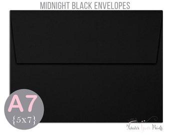 MIDNIGHT BLACK A7 Envelopes, 5x7 Invitation Envelopes, 5x7 Envelopes, Black Envelopes, Peel and Press Envelopes, Wedding Envelopes