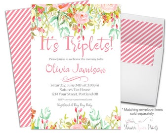 Triplets Baby Shower Invitation - Triplets Baby Shower Invite - Baby Shower Invitation Girl - Triplets Invitation - Triplets Invite - Floral