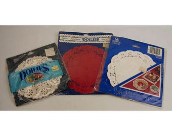 NIP Lot of 3 Assorted Red & White Doilies