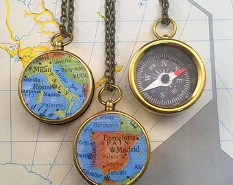 Map Compass Pendant, YOU choose the European Country to KEEP A Memory alive.