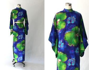 1960s Kimono Sleeve Barkcloth Caftan Dress // 60s Vintage Long Hawaiian Floral Tunic Dress // Large