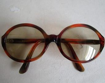 Vintage 1970s Eyewear Rodenstock Amber Acrylic Funky Sunglasses Glass Lenses 70s Sunnies