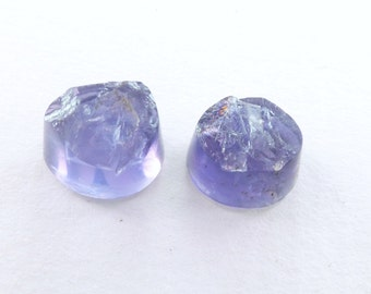 IOLITE Cabochon Cookies. Natural. Purple / Blue. Rough Top. Smooth Back and Side. Freeform Round-ish. 2 pc. 5.1 cts. 9x8 - 8x8 mm (IO370)