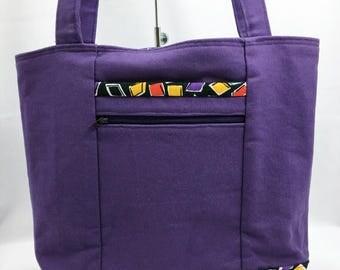 Purple Canvas Tote Bag - Canvas Tote Bag -Shoulder Bag, Canvas Shoulder Bag