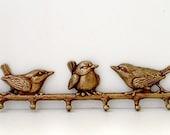 Brass Birds Key Rack Solid Brass Holder Wall Hooks Hanger Vintage Ornate Figural Andrea by Sedak