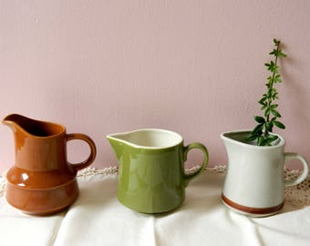 Rustic Farmhouse Stoneware Creamer Pitcher Collection. Kitchen Decor. Serving Tableware. Vintage Housewares. Country French Cottage Chic.