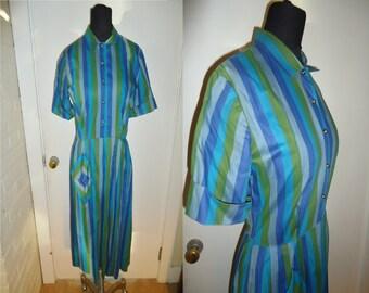 Blue Green Cotton Striped Vintage 1950's Rockabilly Women's Day Dress S M