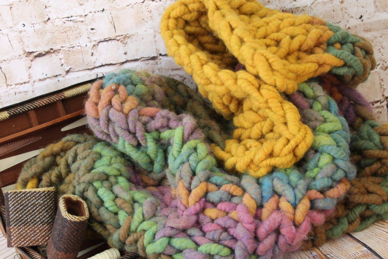"Super Chunky Knit  Blanket/Throw - Squishy Yarn - 100&% Merino  24"" x 42"" ( BL5)"