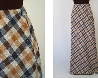 Vintage 70's Maxi Skirt Plaid Double Knit Nubby Texture Blue Camel Size S