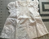 Vintage baby dress christening gown inset lace 6-12mo