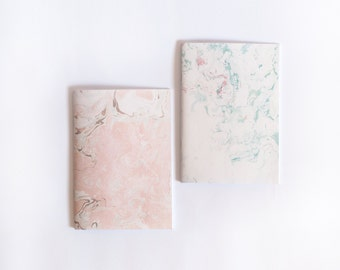 Two pastel marbling notebooks / hand made designed journal / A5 minimalist diary / set of 2
