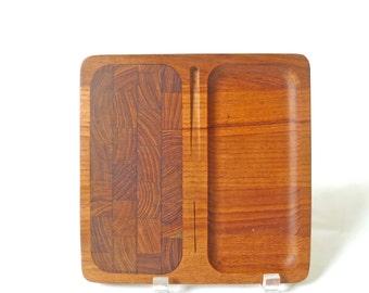 Vintage Small Teak Serving Tray … Danish Modern Cheese Board, Platter, 8 x 8, Scandinavian, Small Wooden Square Serving Board, Butcher Block