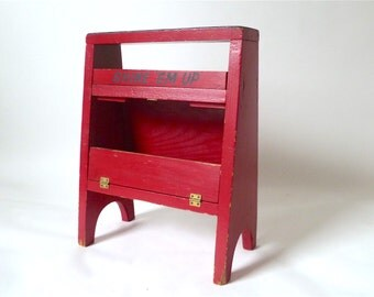 Vintage Red Painted Shoe Shine Box ... Shoe Valet Stool, Shoe Shine Kit, Shine 'Em Up Farmhouse Rustic Prop, Handmade Shoeshine Stand