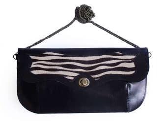 SALE Black and zebra print leather handbag, Zebra print purse, Black evening bag, Women's cross body purse