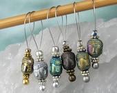 Stitch Markers, Knitting, Hematite Buddha, Semi-Precious Stones, Asstd Colors, Snag Free, Knitting Tool, Knitting Accessory, Knitters Gift