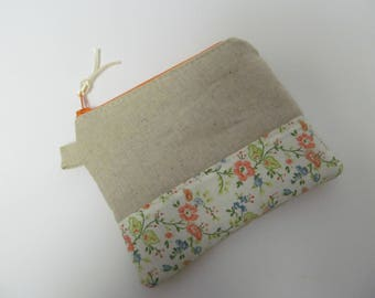 "Zipper Pouch/4""x5""/Linen x Flower x Orange Zipper"
