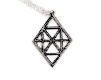 Diamond Shape Necklace | Architectural Jewelry | Vintage Inspired