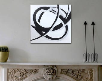 iNFiNiTE original abstract painting by Linnea Heide 12x12 acrylic on canvas -black and white - line art - spiral loop kinetic