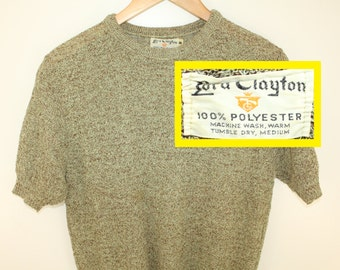 Lord Clayton vintage top Medium polyester short sleeve sweater top 60s