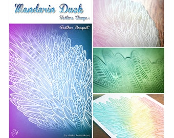 FEATHER BOUQUET Mandarin Duck Texture Stamp - silicone, polymer, ink, papercrafts, fabric, polymer clay