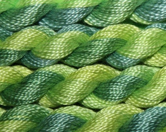 Hand Dyed Cotton Perle Thread Floss for Hand Embroidery, Quilting and Needlecrafts - Variegated Spring Greens skein ref 5336
