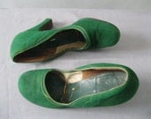 1930's Green Suede Shoes - Vintage 30's Pumps Size 7
