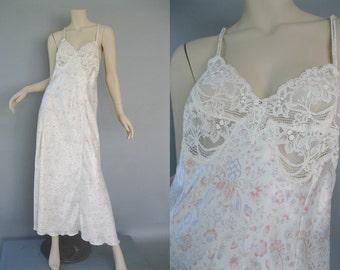Vintage 80s Olga Nightgown - 1980s Pink Floral Rose Print Bridal M-L
