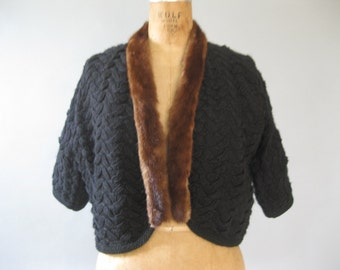 1950s Sweater with Mink Trim - Black Cropped Bolero