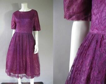1950s Lace Cocktail Dress - Purple Prom Dress - Full Skirt - Short Sleeve Party Dress - Retro Medium -Wedding Guest Dress