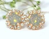 Gray Earrings, Gray Opal Earrings, Gray Swarovski Stud Earrings, Slate gray Earrings, Bridesmaids Earrings, Gift for her Bridal Gray Studs