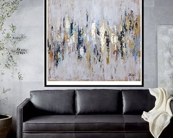 painting on canvas, Abstract painting,Original Painting,Acrylic Painting,gold leaf,glod paiting, dark blue,Ivory,large painting
