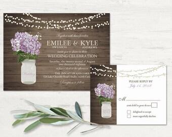 Rustic Wedding Invitation Printable Mason Jar Wedding Invitations Country  Wedding Lilac Lavender Hydrangea Floral Wedding Digital