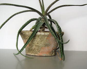 Vintage stone plant container/ oval plant pot/ textured